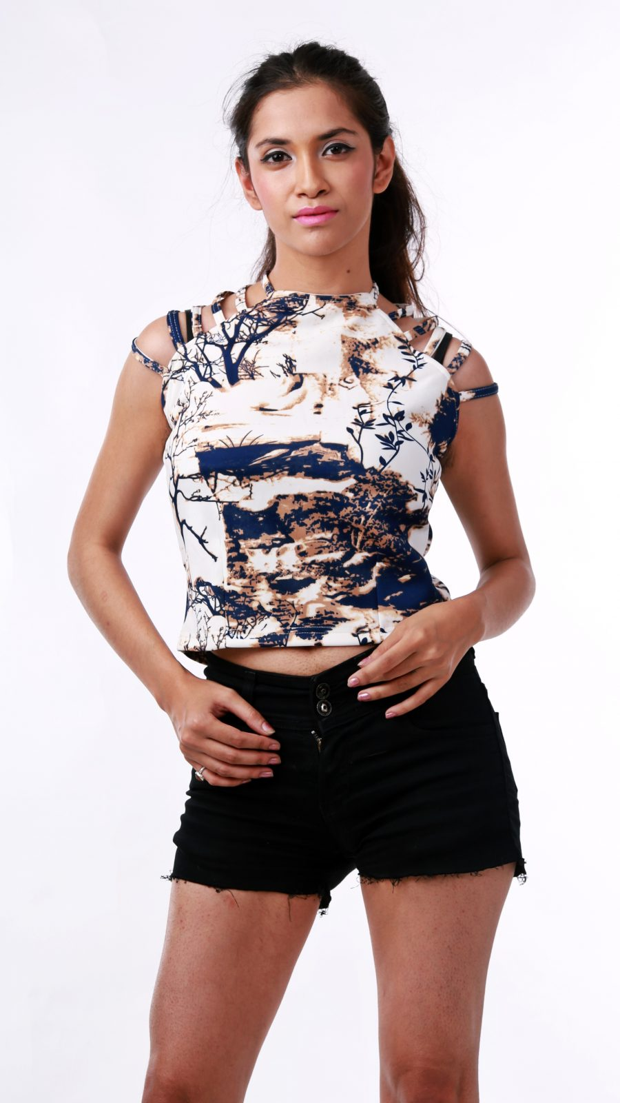 First Date Printed Cold Shoulder Top blue